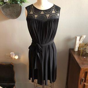 Alexia Admor black lace dress with tie